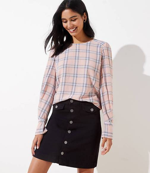 plaid-pleated-cuff-blouse