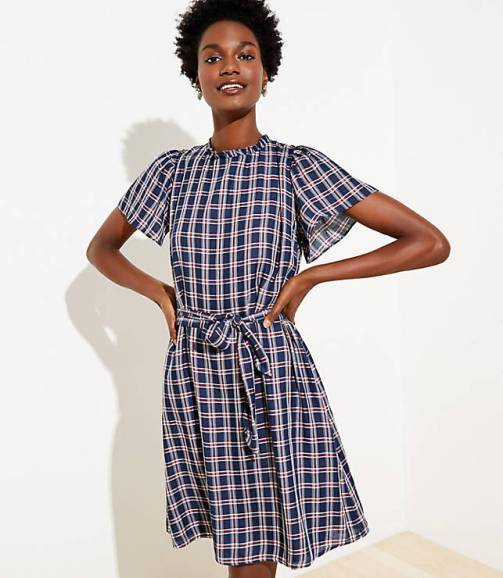 plaid-ruffle-neck-tie-waist-dress