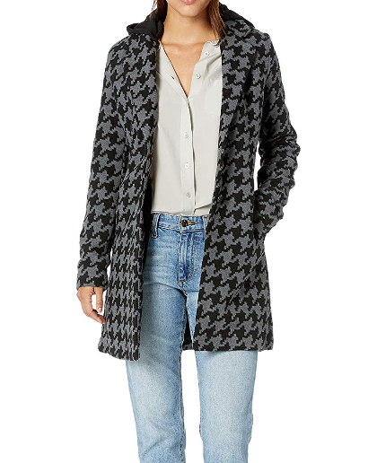 Screenshot_2019-11-19 Amazon com Yoki Women's Single Breast Houndstooth Long Wool Jacket, Black Grey, Medium Clothing